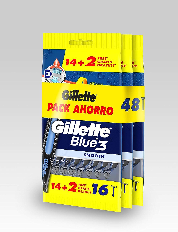 Gillette Blue3 Maquinillas de Afeitar Desechables, 48 Cuchillas de Afeitar (3x16)