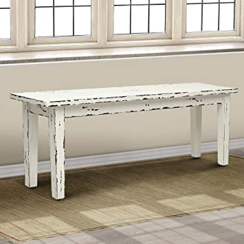 Amazon Com Casual Elements Suffolk Bench With Straight Legs Rustic Heavy Distressed Linen Table Benches