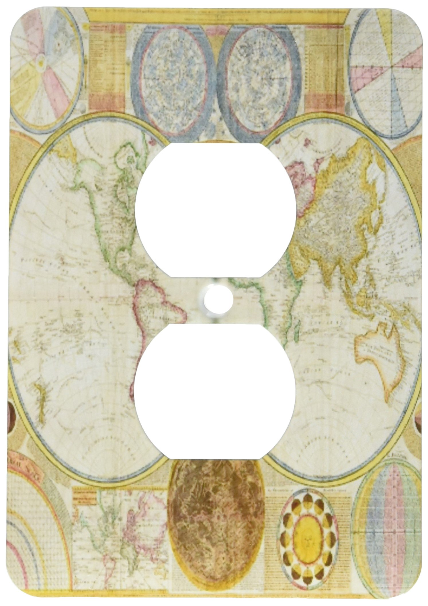 3dRose lsp_171761_6 Image Of First Map Of Hemisphere And Solar System - 2 Plug Outlet Cover