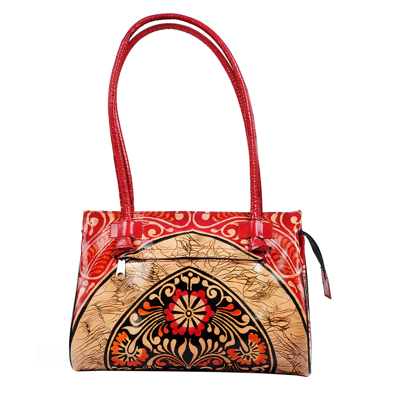 79fe8cc12a ZINT Batic Designed Leather Shantiniketan Boho Style Handbag Red  Handbags   Amazon.com