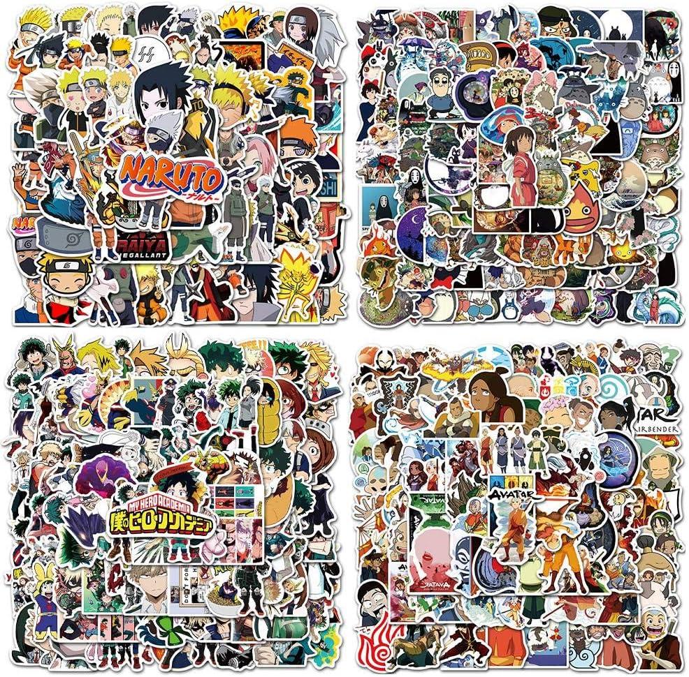 Anime Collection Stickers 100pcs Naruto/My Hero Academia/Avatar The Last Airbender/Miyazaki Hayao Anime Series Waterproof Cartoon Toy Stickers for Laptop Luggage (100pcs Naruto)