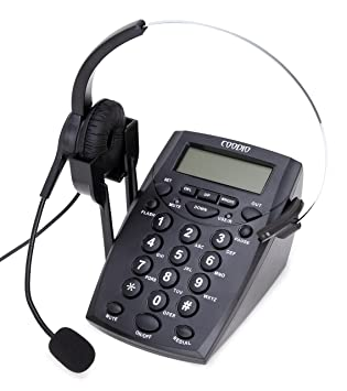 Call Center Telephone with Headset, Coodio Corded Phone [Call Center]  Telephone with Headset and Recording Cable and Tone Dialpad [Office Phone]  RJ11