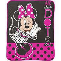 Jay Franco Disney Minnie Mouse Dots are The New Black Raschel Throw Blanket - Measures 43.5 x 55 inches, Kids Bedding - Fade Resistant Super Soft - (Official Disney Product)