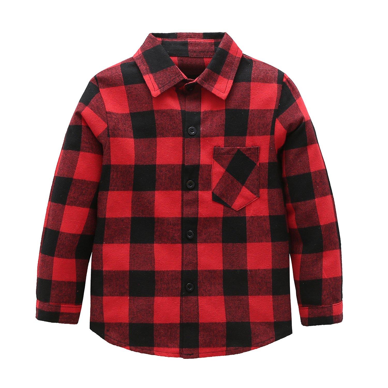 Grandwish Kids Long Sleeve Boy's Girl's Plaid Flannel Shirt Red Black 12