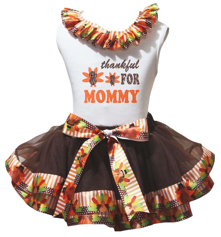 Petitebella Thankful For Mommy White Shirt Brown Turkey Petal Skirt Nb-8y