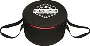Big Cottonwood Dutch Oven Cover, Bag, case, Tote. Hard Plastic Bottom, w/Reinforced Hard-Plastic to Prevent Damage from Legs/feet. We Guarantee it! Love Your cast Iron.