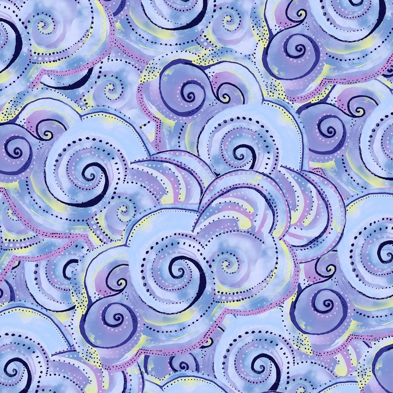 Laurel Burch Sea Goddess Rolling Waves Quilt Fabric Dark Purple Style Y2602//28