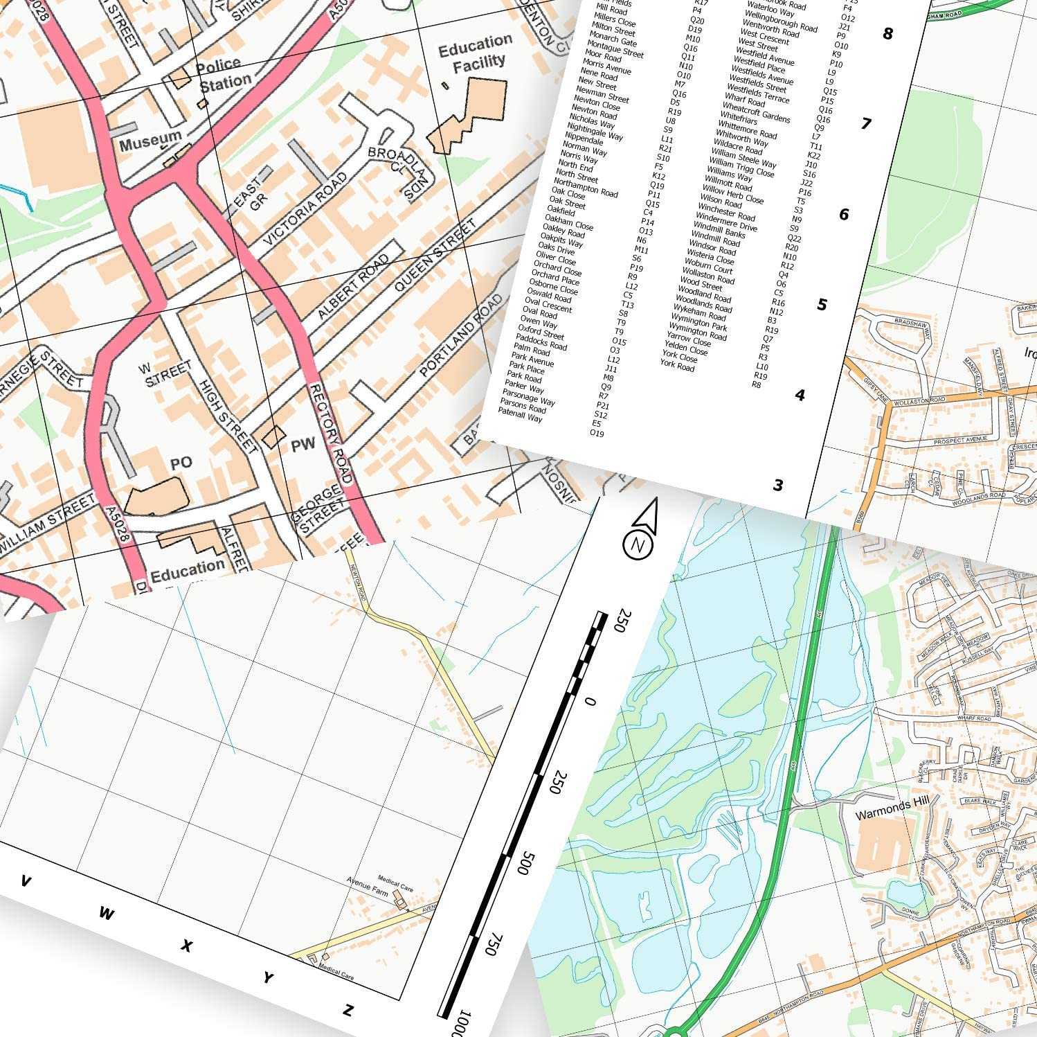 Street Wall Map with Index Witney
