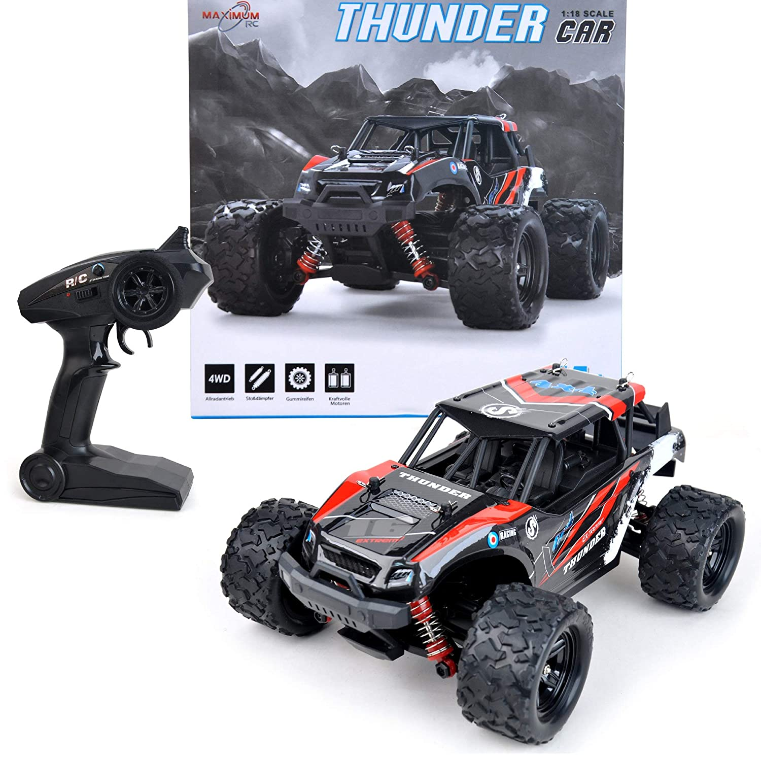 Maximum RC 2.4 GHz Monster Truck Radio Controlled Car 36 km h Fast Lipo Power RC Car color Red