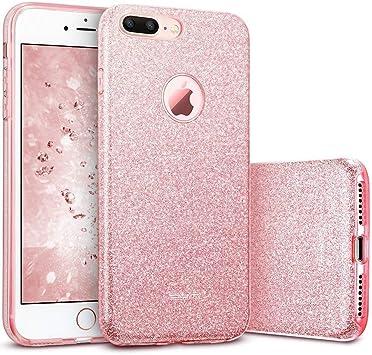ESR Funda para iPhone 7 Plus con Purpurina Brillante de Tres Capas TPU + Policarbonato- Oro Rosa: Amazon.es: Electrónica