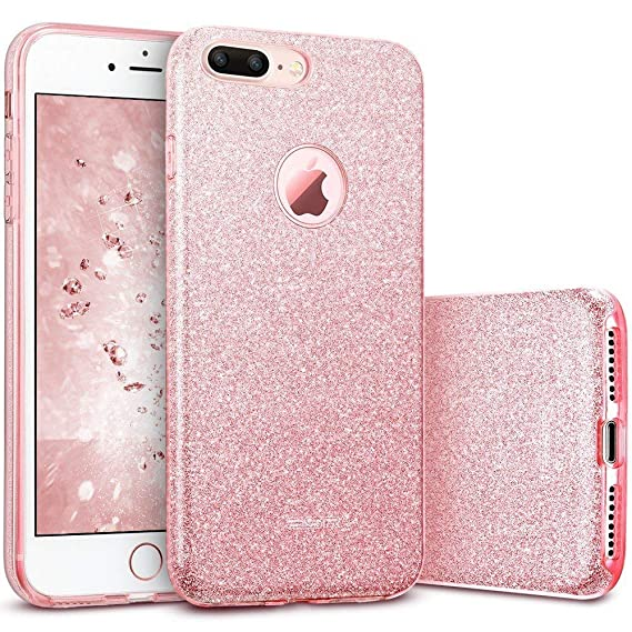 new product c4456 e5cb4 ESR iPhone 7 Plus Case,Glitter Sparkle Bling Case [Three Layer] for Girls  Women [Shock-Absorption] for 5.5