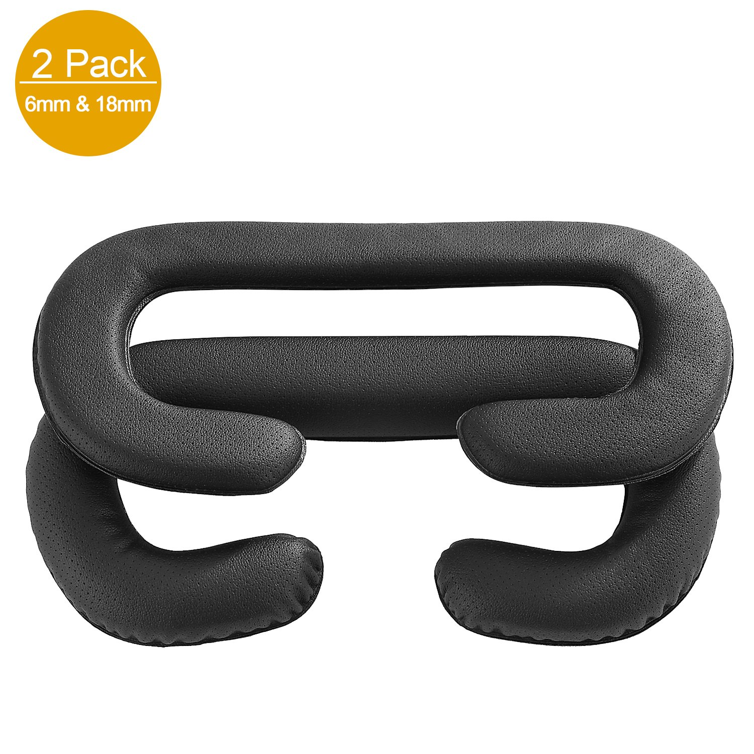 HTC Vive VR Face Cover, JARMOR Replacement Eye Mask Pad with Memory Foam & PU Leather [Better FOV] [2 PACK, 6MM & 18MM] - Black