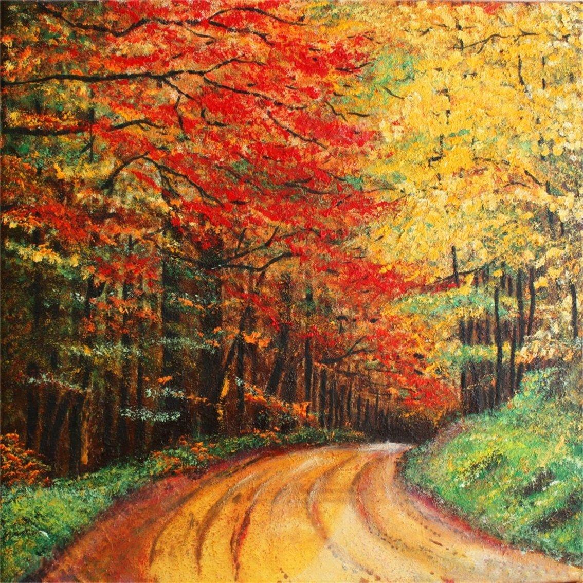 新しい 木 葉 黄色 赤 秋の道路 美しい 背景 写真 風景 油絵 秋の森の