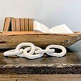 UPMODERN Wood Chain Link Decor- Hand Carved Decorative Wood Chain, 5 Link Chain Decor, White Washed, Sustainable Pine Wood