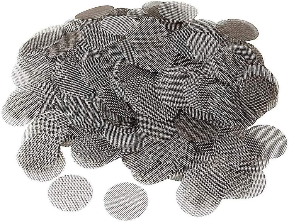 MINGZE 200 Piezas Filtros de Pipa de Fumar de Acero Inoxidable Pantallas de Pipas, Tabaco Accesorio de Metal Filtros de Pipa del Humo de la Pantalla de Gasa de 20 mm