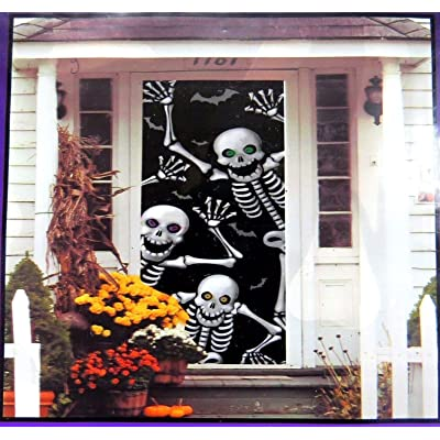 "Halloween Skeleton Decoration Door Cover (30"" x 72""): Toys & Games"