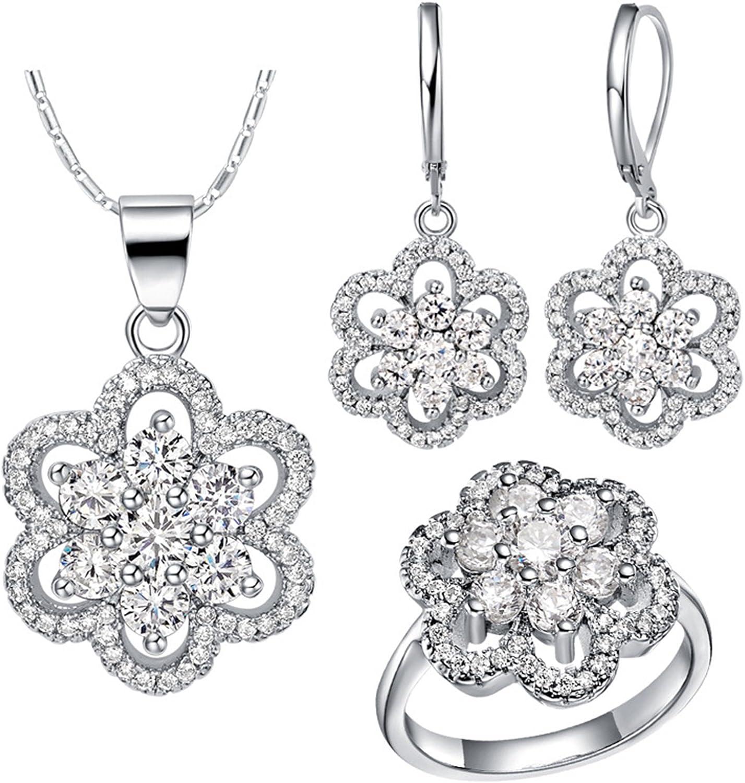 AnazoZ Collar Anillo Pendientes Mujer Juegos de Joya Flor CZ Cristal Lila Blanco Plata Anillo Talla 12-20