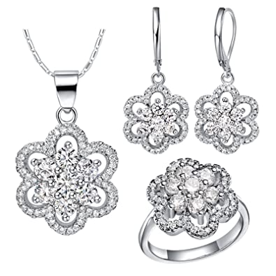 bb48aeb8dccba AnazoZ Luxury Jewellery Set for Women Earrings Engagement Rings ...