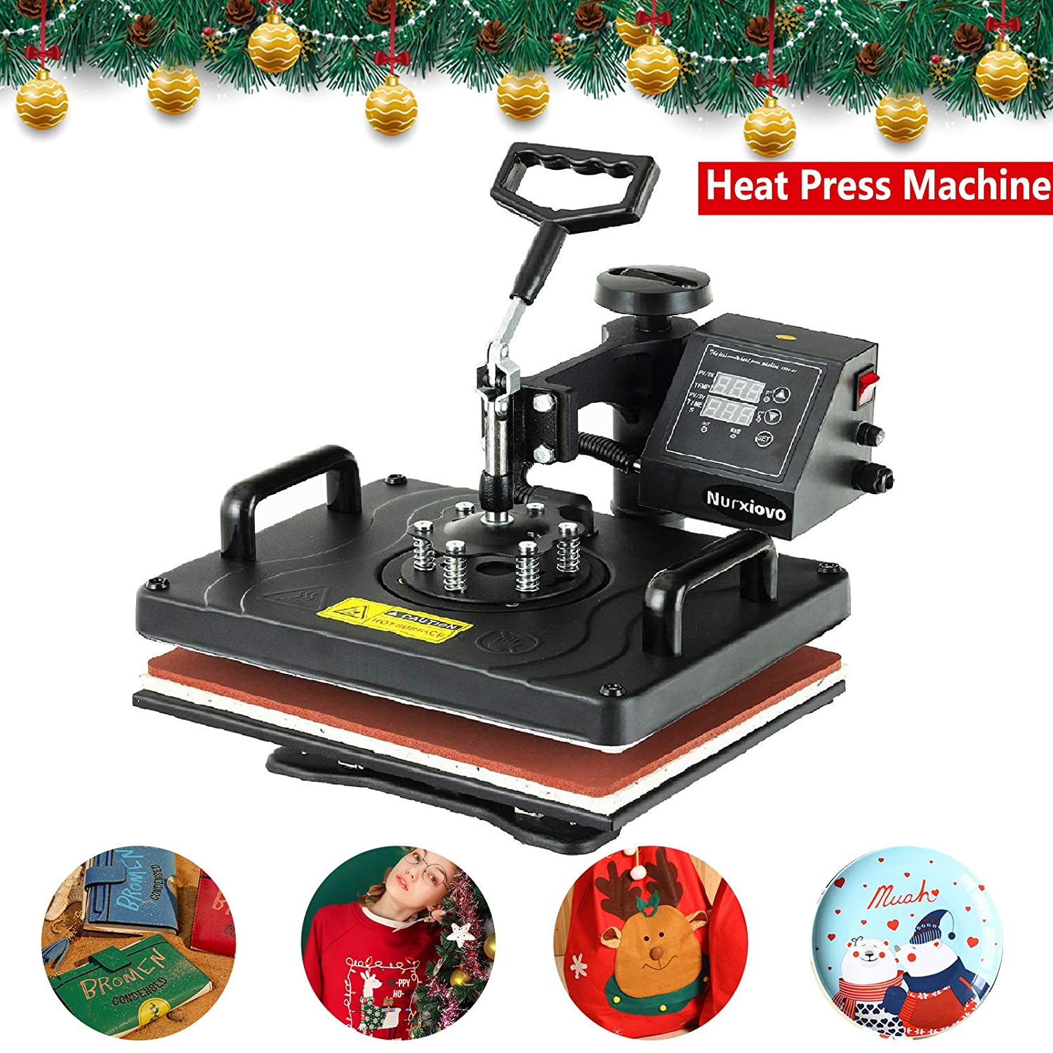 Nurxiovo 12x15 in Heat Press Machine,360 Degree Swing Away Commercial Heat Transfer Machine,Hot Pressing Vinyl Digital Sublimation for T-Shirt,Hat,Mouse Pad,Phone Case,Cotton,Bags,Tablecloth