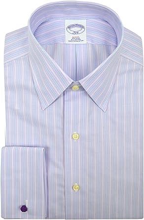 BROOKS BROTHERS - Camisa de Vestir para Hombre (100% algodón, a Rayas), Color Morado Claro - Morado - 39 cm Cuello 89 cm Manga: Amazon.es: Ropa y accesorios