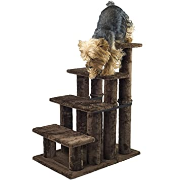 Furhaven Pet Steady Paws 4 Step Pet Stairs, Brown