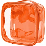 Clear TSA Approved 3-1-1 Travel Toiletry Bag/Transparent See Through Organizer (Orange)