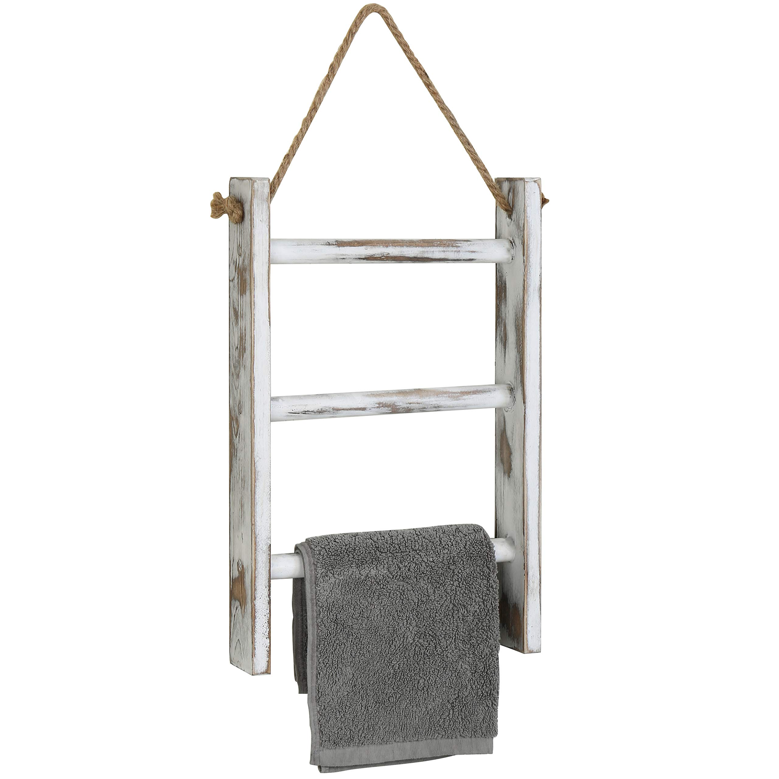 MyGift 3-Tier Whitewashed Wood Wall-Hanging Towel Storage Ladder with Rope by MyGift