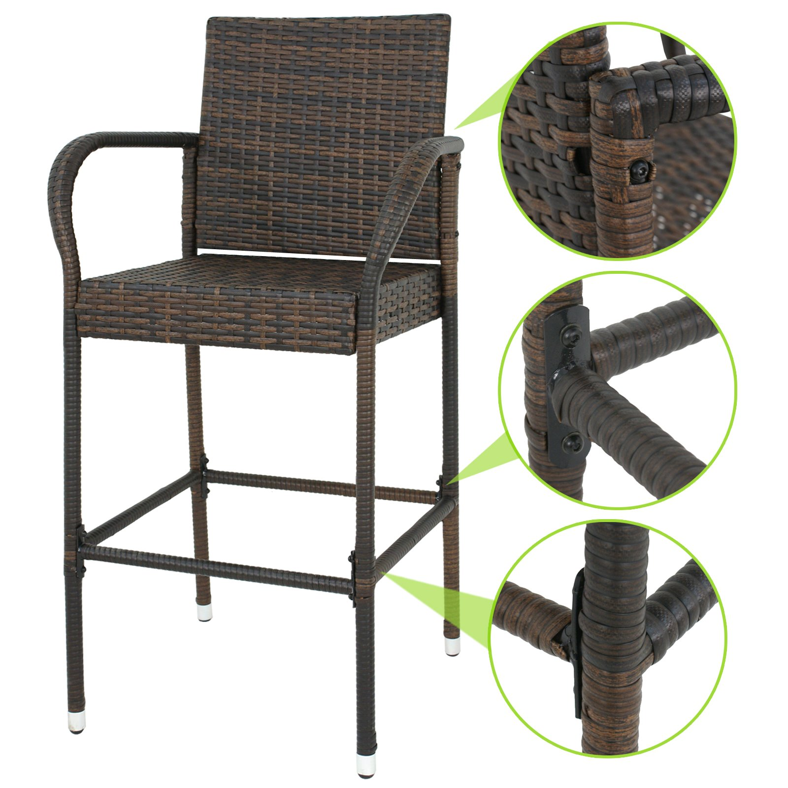 SUPER DEAL Wicker Bar Stool Outdoor Backyard Rattan Chair Patio Furniture Chair w/Iron Frame, Armrest and Footrest, Set of 4 by SUPER DEAL (Image #4)
