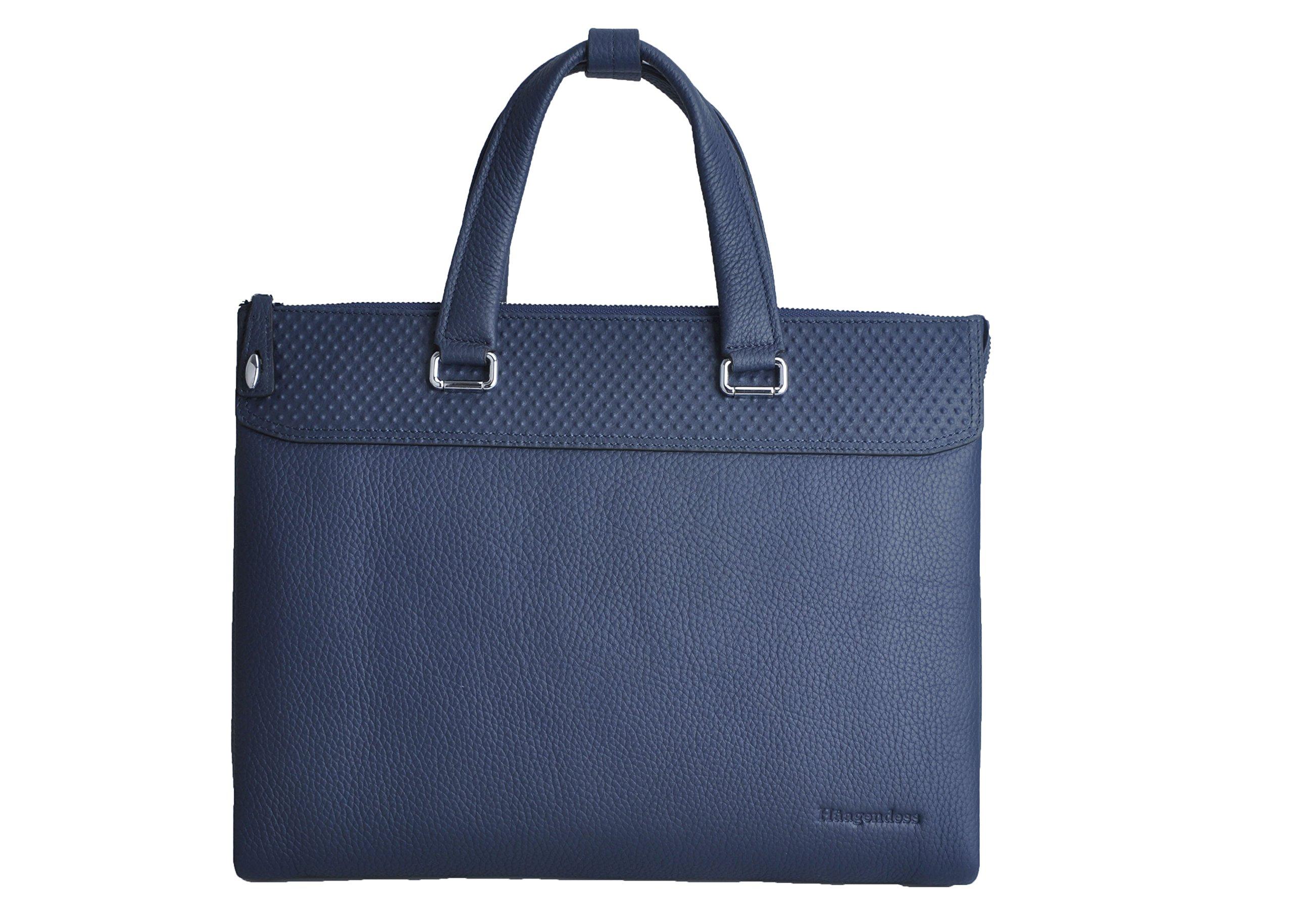 Haagendess Business Mens Bag Leather Laptop Briefcase Hand Bag (Blue)
