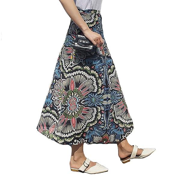 ca5dcbbde Botanmu Mujer Falda Cruzada Larga Falda Verano Retro Talla Grande Falda  Estampado Floral Chiffon Cintura Ajustada