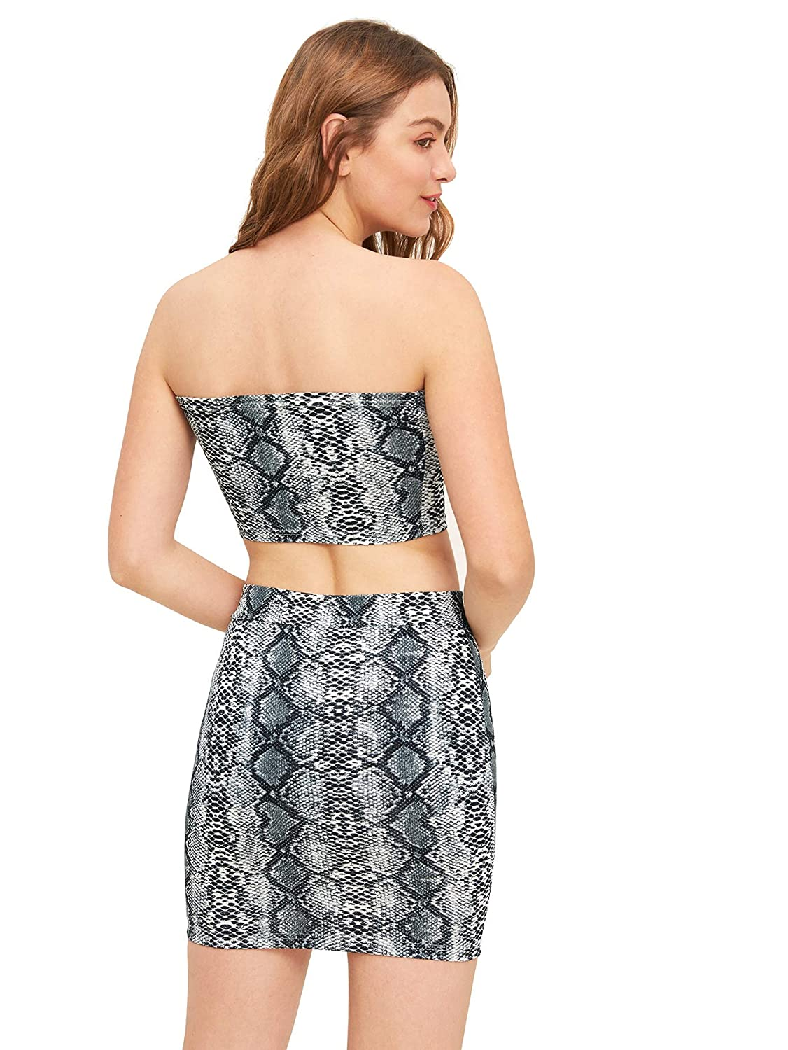 a1332db17d71 Floerns Women's Snake Print Sexy Bandeau Crop Top and Skirt Two Piece Set  at Amazon Women's Clothing store: