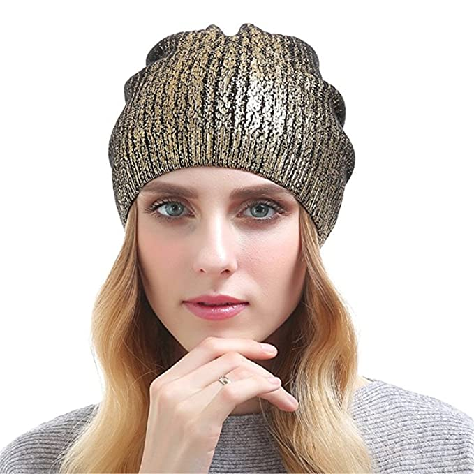 65d73b81f567a Qhome Winter Knitted Beanies Hat For Women Winter Warmer Hats Cashmere  Cotton Gravity Fall Cap Girl Beanies at Amazon Women s Clothing store