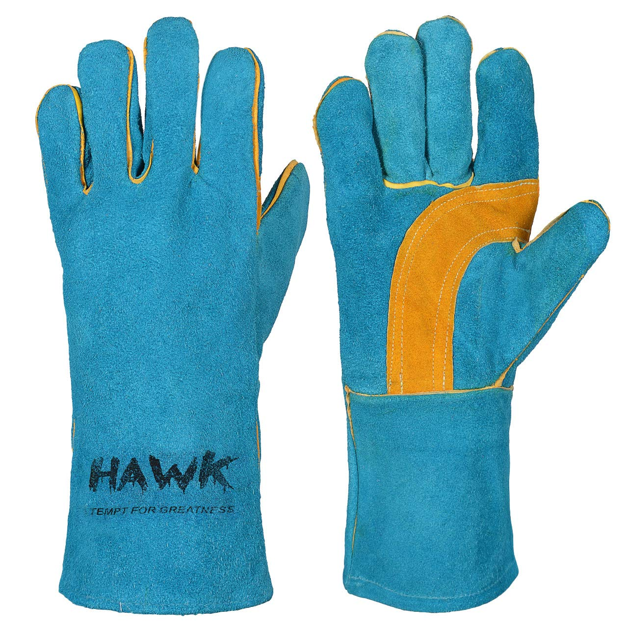 Leather Welding Gloves FIRE HEAT RESISTANT Baking Barbecue oven BBQ Grill Pot Holder Welders Gauntlets Rigger Fireplace Outdoor Working Work Gloves Mitts Blue 14