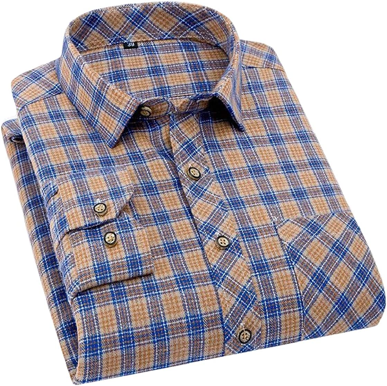 Macondoo Men Flannel Basic Long Sleeve Plaid Pocket Lapel Neck Button Down Shirts