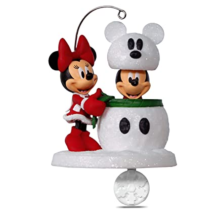 hallmark keepsake 2017 disney mickey and minnie snowmouse surprise christmas ornament - Disney Christmas Decorations 2017