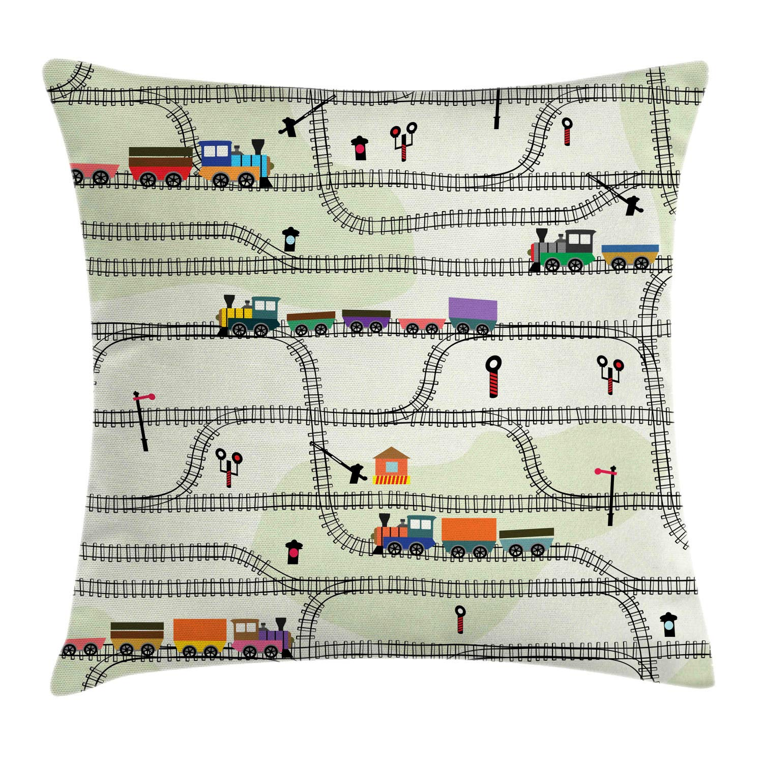 Ambesonne Railroad Throw Pillow Cushion Cover, Nursery Style Arrangement of Roads and Trains Locomotives Cartoon Kids Pattern, Decorative Square Accent Pillow Case, 24'' X 24'', Multicolor by Ambesonne