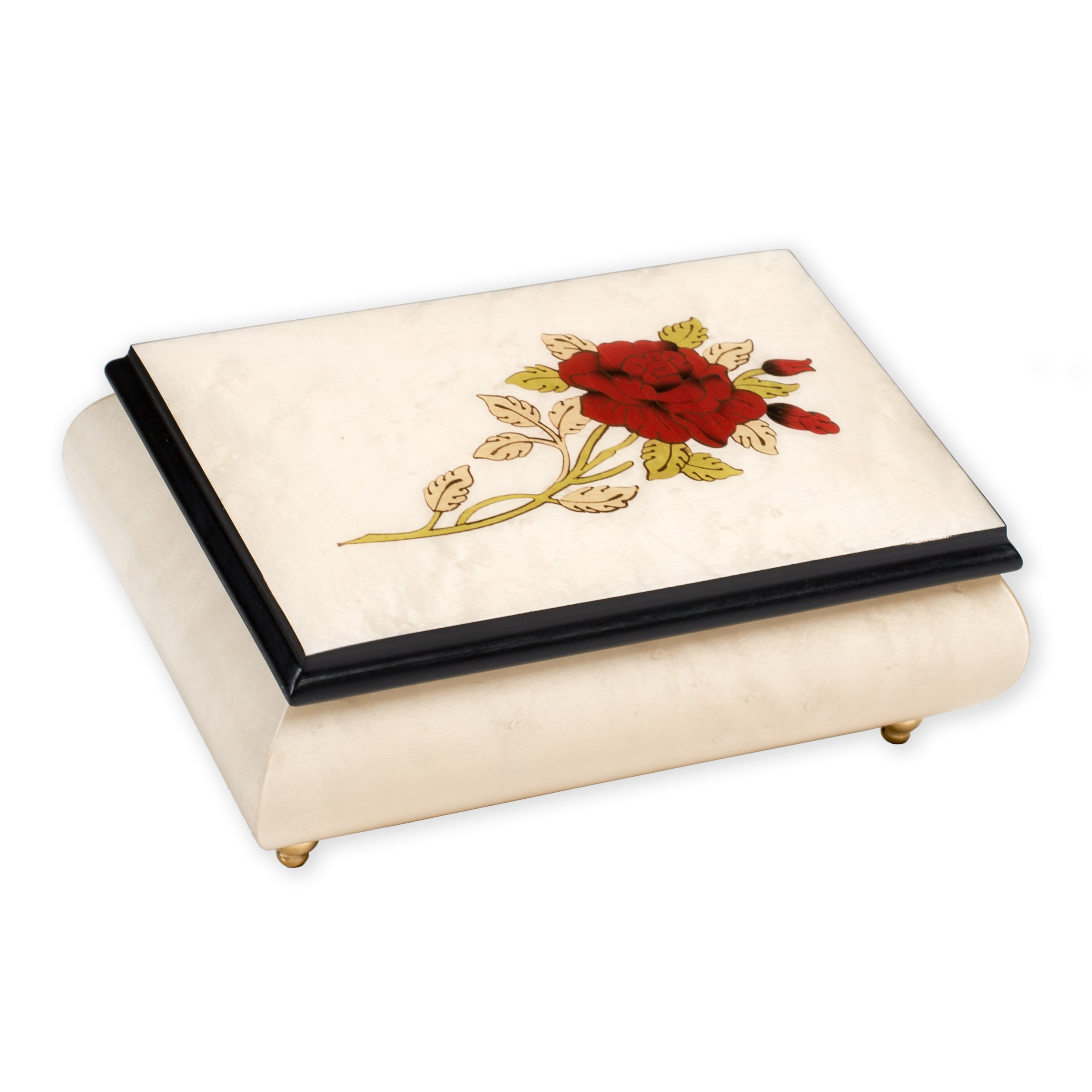 Red Rose Floral White Matte Italian Hand Crafted Inlaid Maple Wood Musical Box Plays Bolero