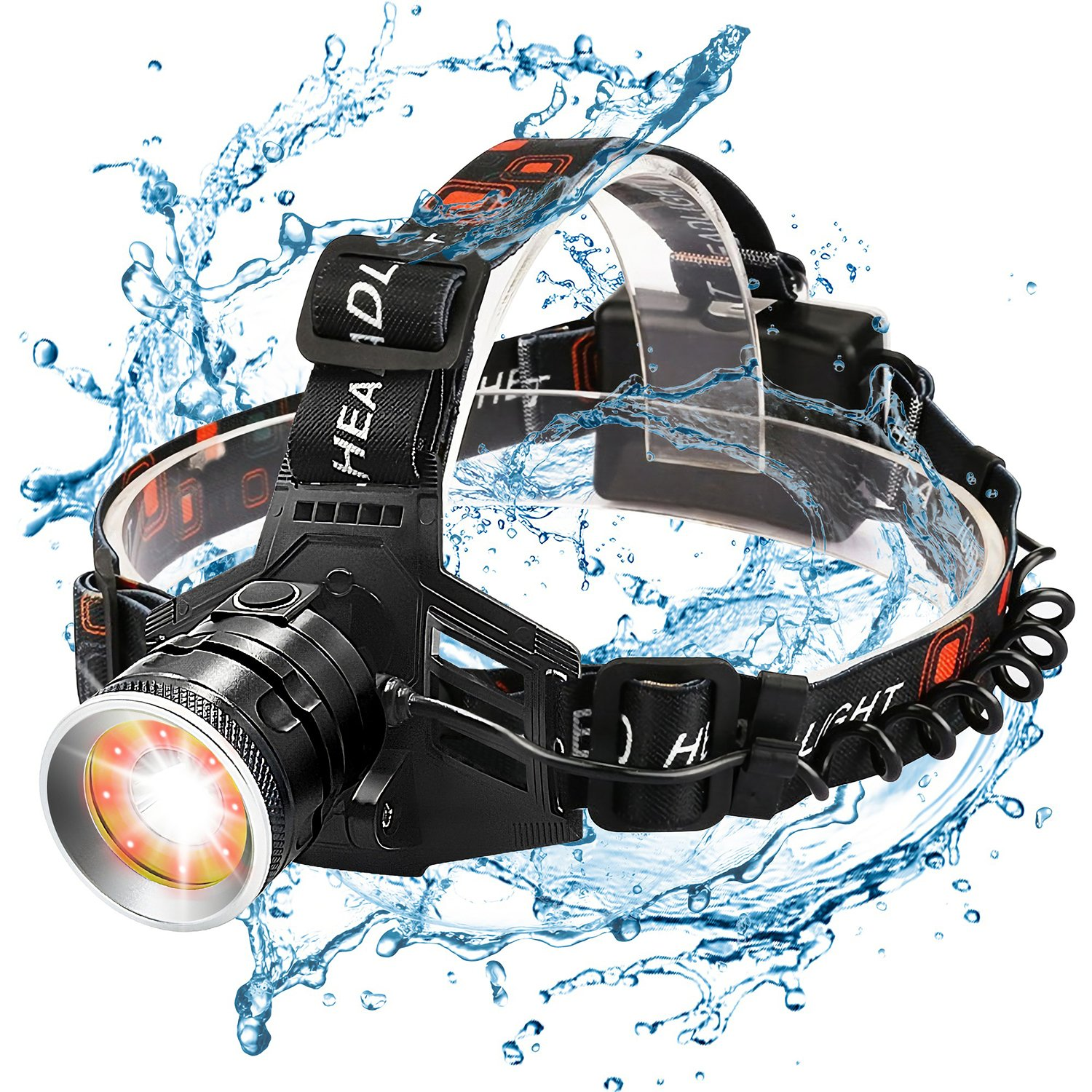 Wsky Led Headlamp Flashlight - Best S6000 Powerful Waterproof Headlamp - Red and White Light - Perfect for Working Camping Biking Home Emergency or Gift-Giving (Batteries Not Included)