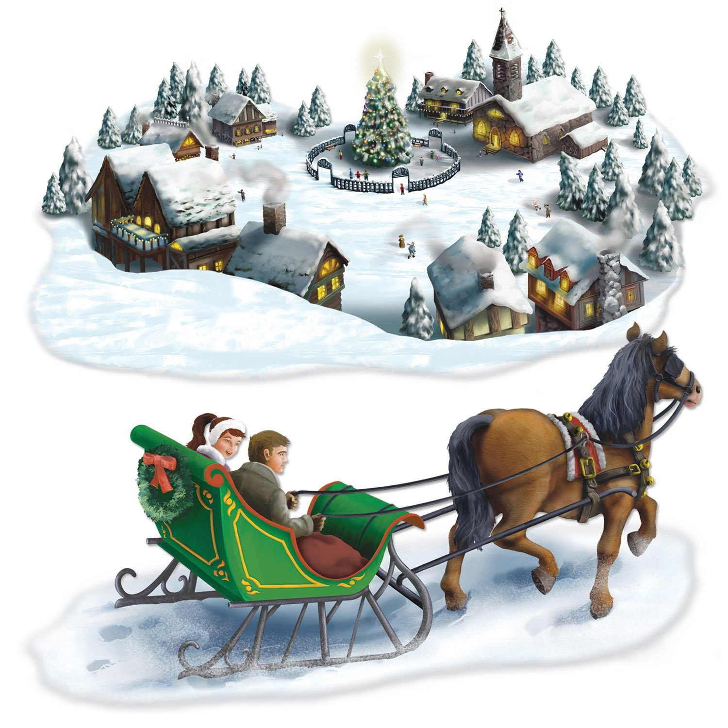 Amazon.com: Holiday Village & Sleigh Ride Props Party Accessory (1 ...