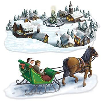 Amazon Com Holiday Village Sleigh Ride Props Party Accessory 1