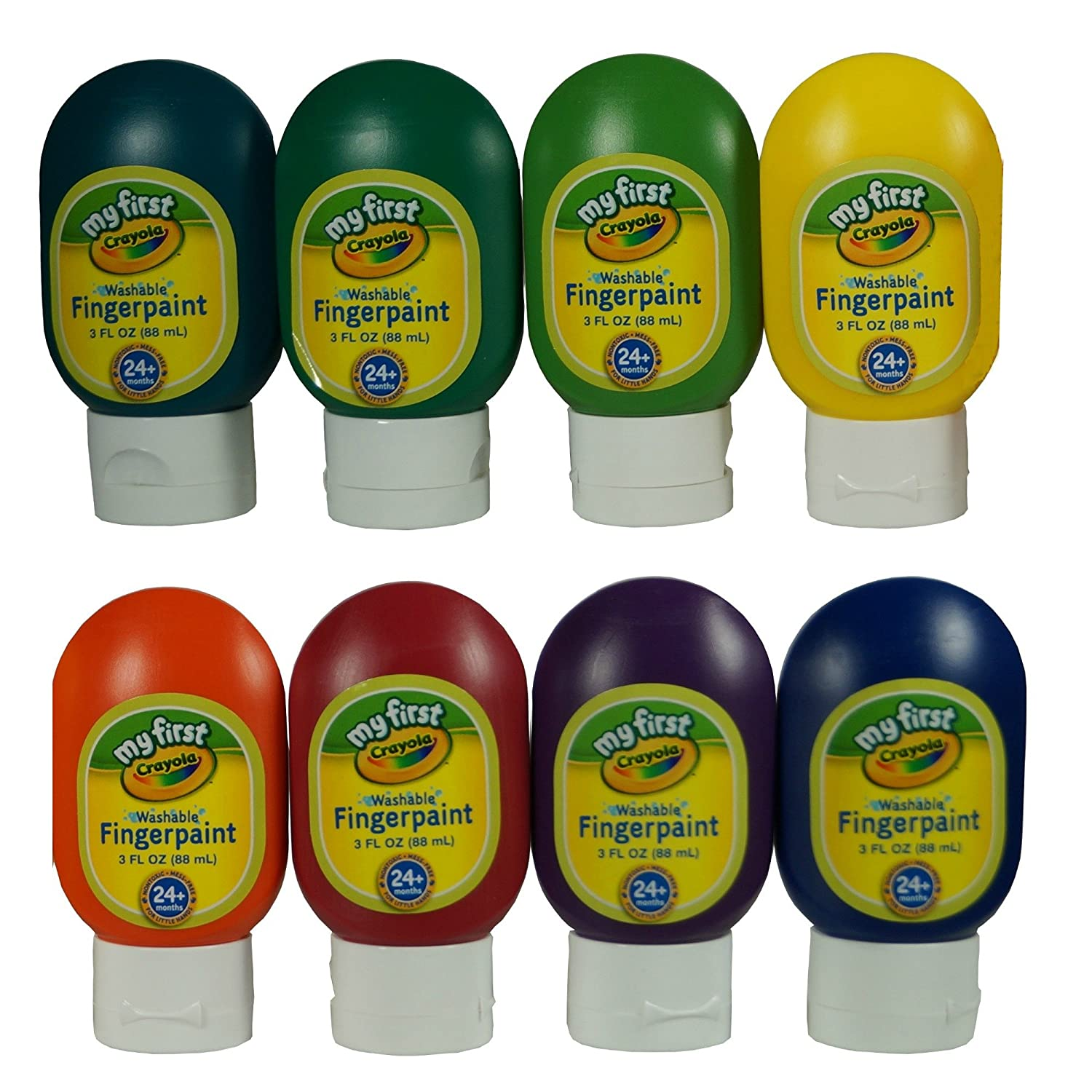 Crayola Washable Finger Paints, 8-Count ( 3 ounce no-drip tubes ), Red, Blue, Yellow, Green, Orange, Purple, Lime Green And Teal by Crayola 81-1424