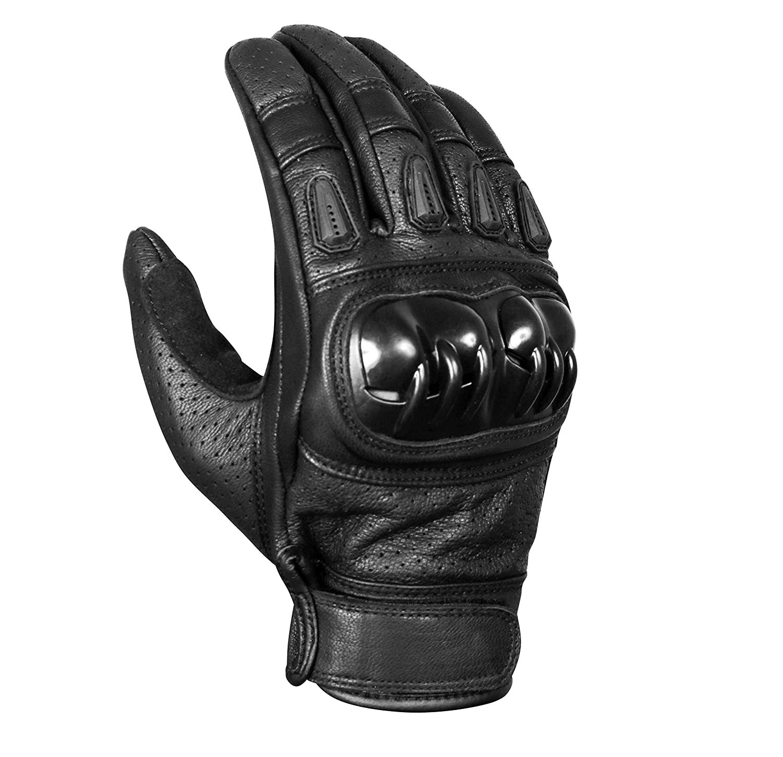 Motorcycle Gloves Medium, Black Leather Hard Knuckle Touch Screen Gloves Motorcycle Gloves Motorbike ATV Riding Full Finger Gloves for Men.