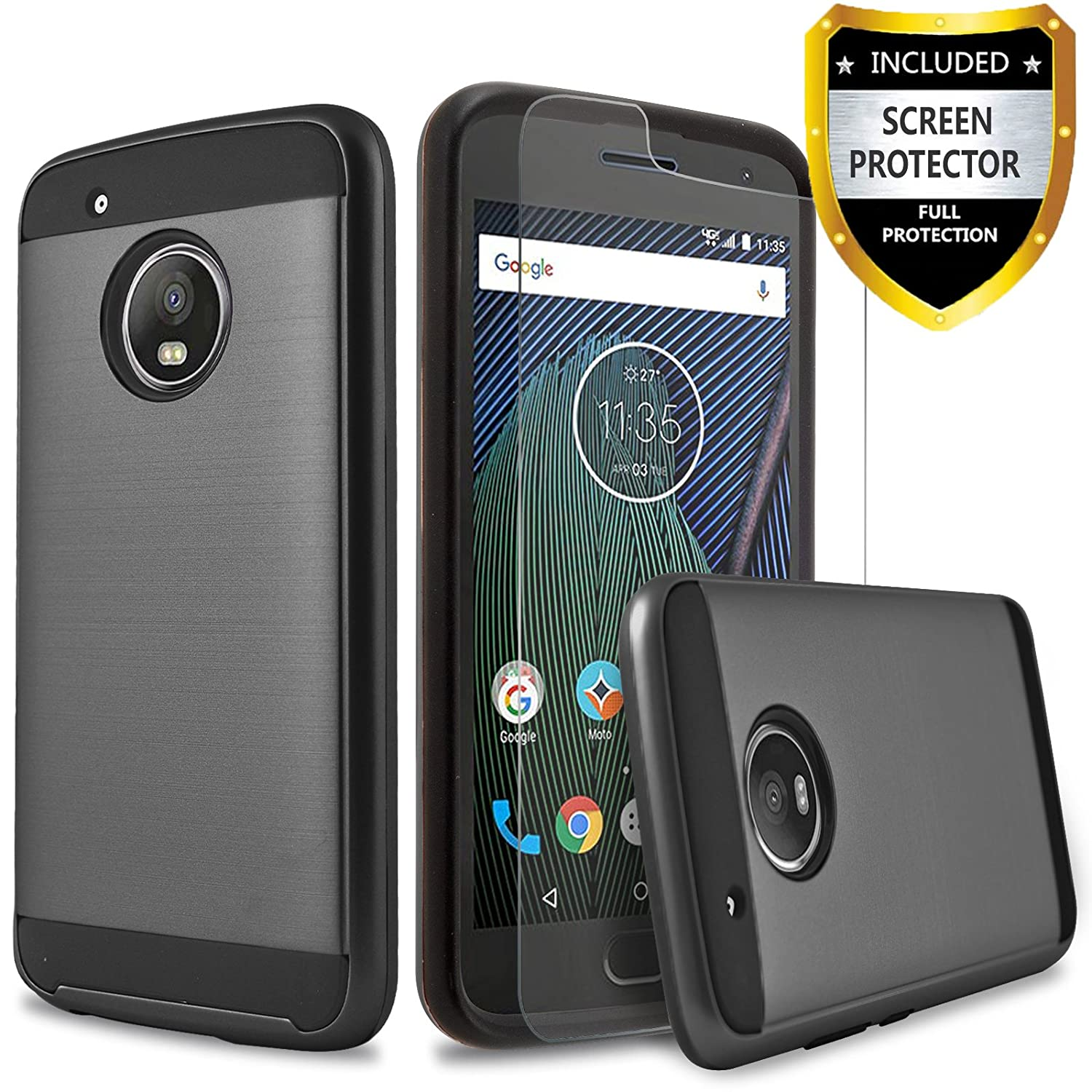 the latest ff7ff 2fba3 CircleMalls Moto E4 Plus Case, 2-Piece Style Hybrid Shockproof Case with  [HD Screen Protector] and Touch Screen Pen (Black)