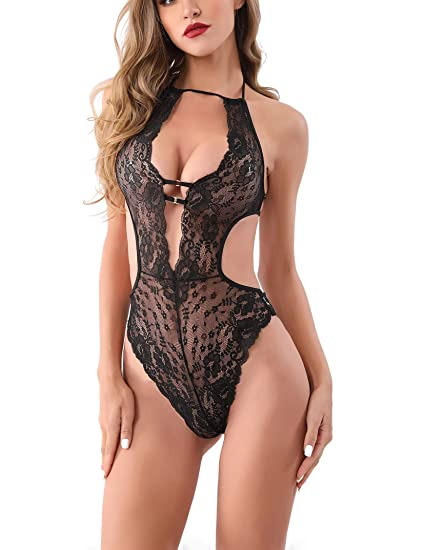 4a0e11612692 Amazon.com  Santou Women Deep V Lace Lingerie One Piece Sexy Halter ...