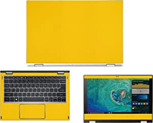 "decalrus - Protective Decal for Acer Spin 1 SP111-32N (11.6"" Screen) Laptop Yellow Carbon Fiber Skin Skins Decal for case Cover wrap CFacerSpin1_SP111-32nYellow"