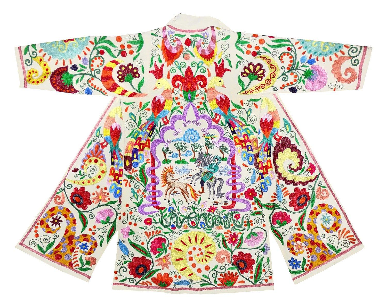 one-of-a kind Uzbek Bukhara outwear costume kaftan caftan FAIRY TALE robe jacket coat unisex silk embroidered B1452