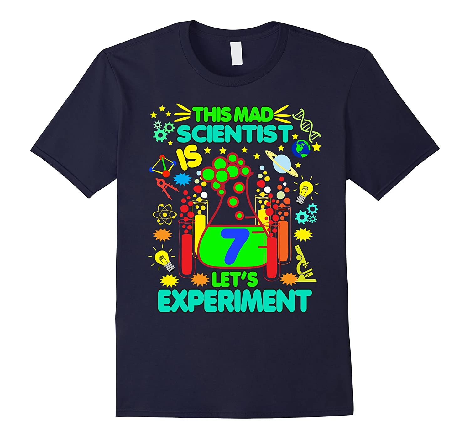 Birthday Shirt Age 7 Seven Boys Girls Science Theme Party-TD