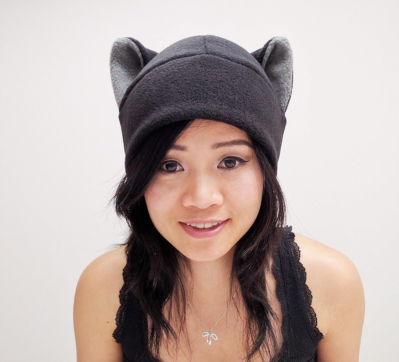 Black Cat Ear Hat Toque Beanie Feline Kitty Kitten Fleece Anime Manga Ski Snowboarding Convention Goth Punk Rave Costume Cosplay Halloween cat Christmas Gift