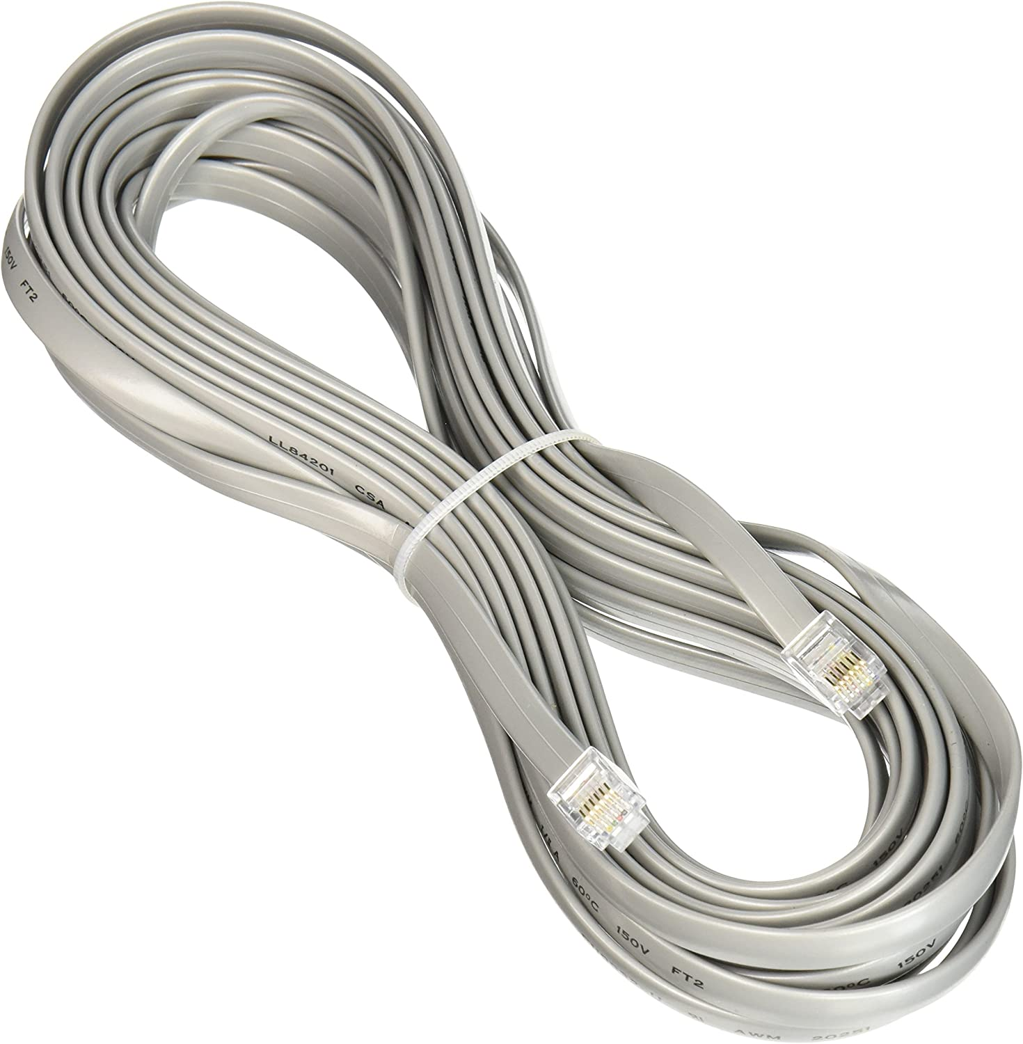 C2G 09593 RJ11 6P4C Straight Modular Cable Silver 50 Feet, 15.24 Meters