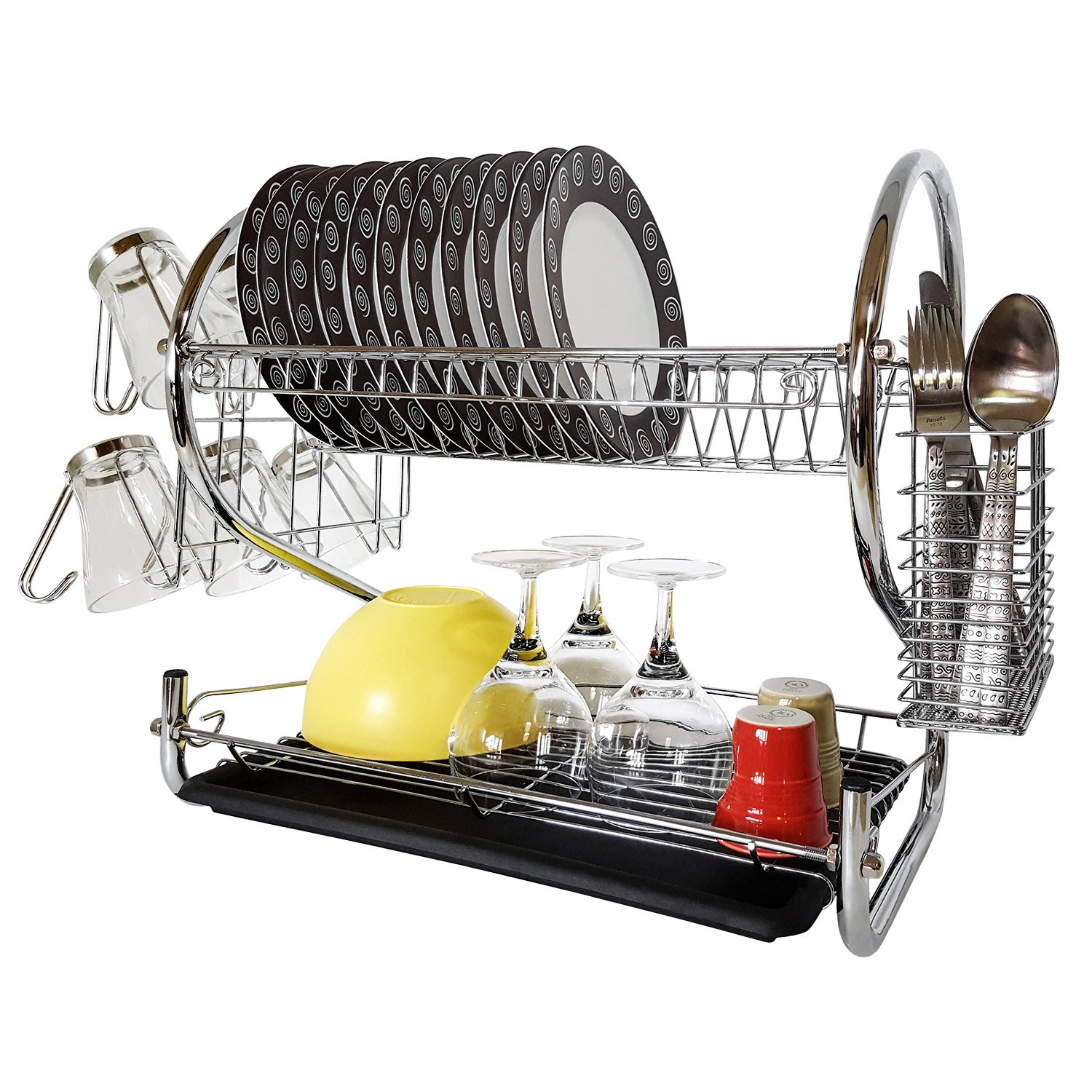 Tatkraft Helga Two Tier Chromed Dish Drainer with Mug Holder and Cutlery Drainer